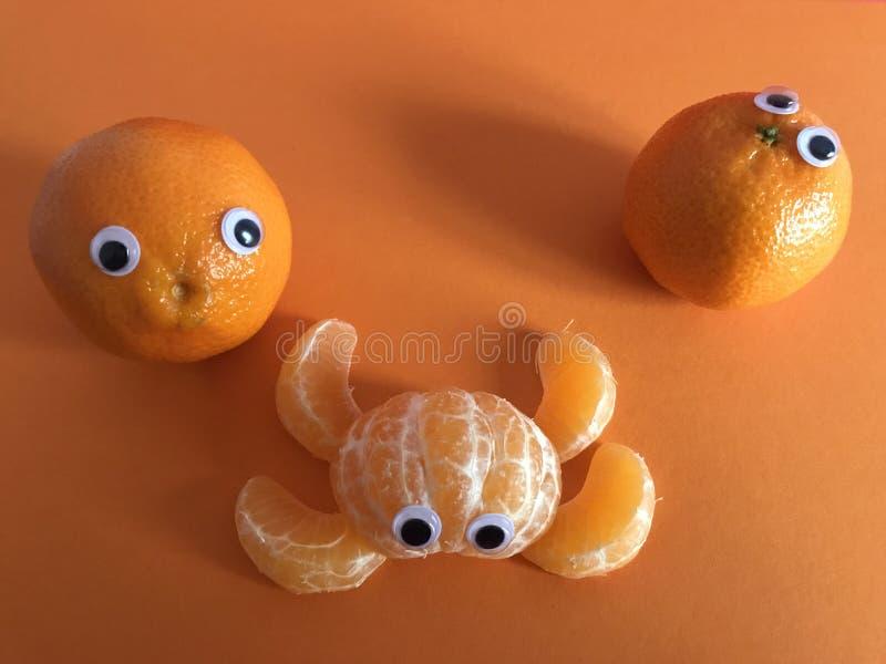 Conceito criativo do fruto, laranjas eyed googly fotos de stock royalty free