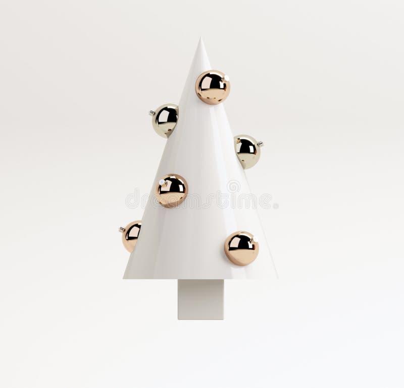 Conceito criativo do Natal mínimo branco: Árvore de Natal com as bolas no fundo branco ilustração da rendição 3d imagem de stock royalty free