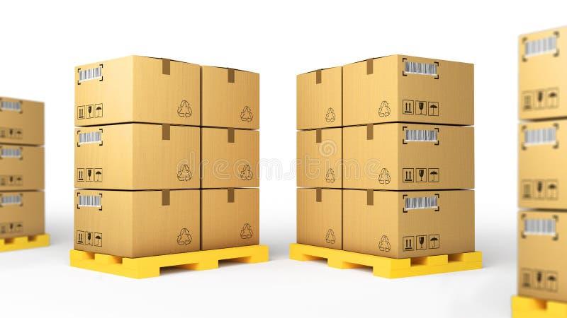 Conceito criativo do negócio da indústria do armazém de armazenamento da logística da carga, da entrega e do transporte: grupo de foto de stock