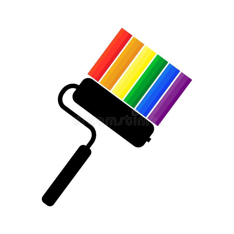 Conceito criativo do símbolo da comunidade de LGBT com a bandeira do rolo e do arco-íris de pintura ilustração stock