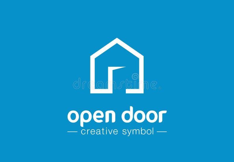 Conceito criativo do símbolo do estar aberto Botão da casa, arquitetura da construção, logotipo real do negócio do sumário da agê ilustração royalty free