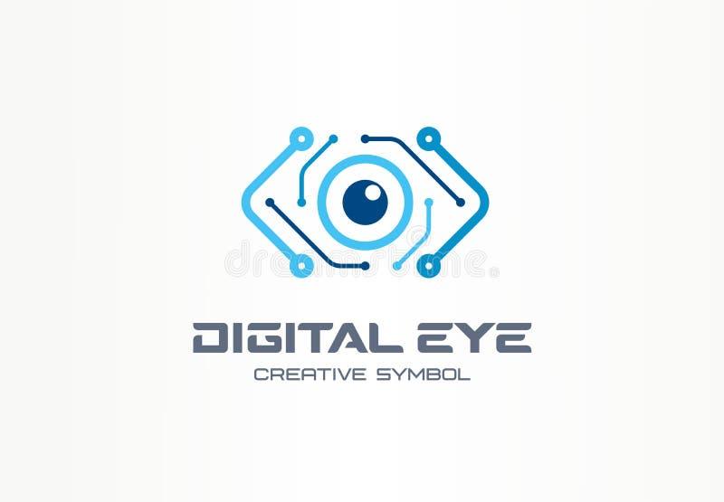 Conceito criativo do símbolo do olho de Digitas Visão do Cyber, logotipo do negócio do sumário da placa de circuito Controle da c ilustração royalty free