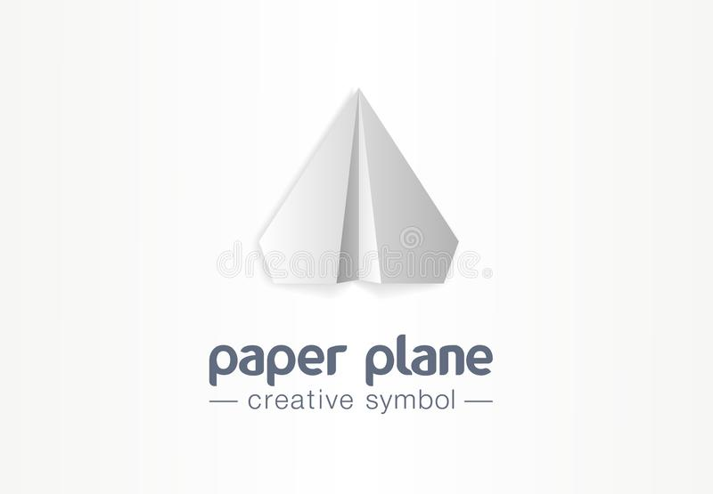 Conceito criativo do símbolo do plano de papel Voo da mensagem da letra na seta acima do logotipo do negócio do sumário do avião  ilustração do vetor
