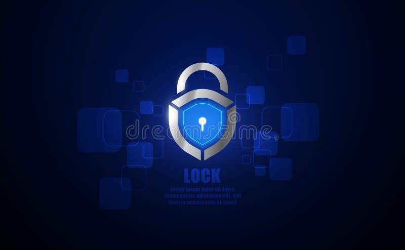 Conceito criativo do s?mbolo do fechamento Sistema de segurança do Cyber, controle de acesso, negócio abstrato da proteção Cadead ilustração stock