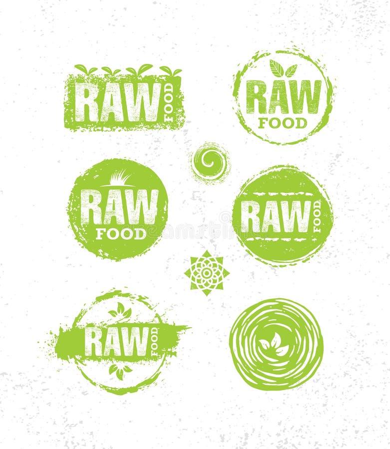 Conceito criativo do sinal do alimento saudável integral cru da dieta Ilustração local orgânica da exploração agrícola no fundo á ilustração do vetor