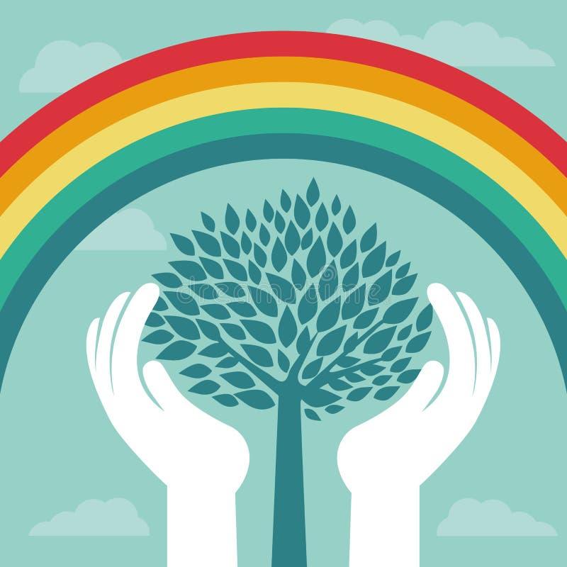 Conceito criativo do vetor com arco-íris e árvore ilustração stock