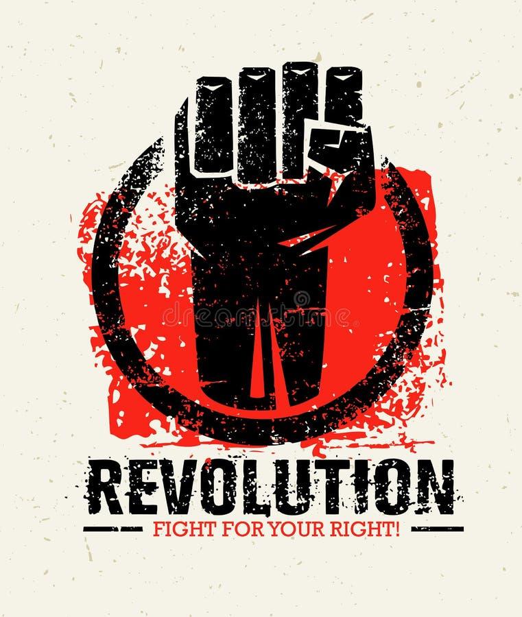 Conceito criativo do vetor do Grunge de SocialProtest da revolução no fundo áspero do Grunge ilustração do vetor