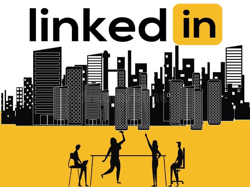 Conceito criativo Linkedin da palavra e atividade dos povos ilustração royalty free