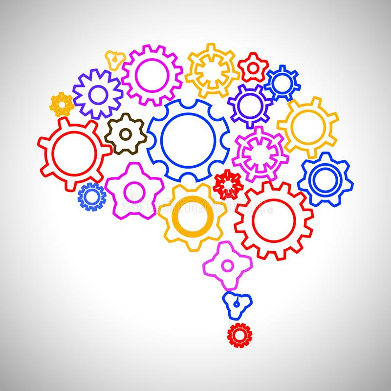 Conceito criativo o cérebro humano da engrenagem - vector a ilustração ilustração royalty free