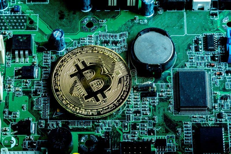 Conceito cripto da moeda de Bitcoin imagens de stock