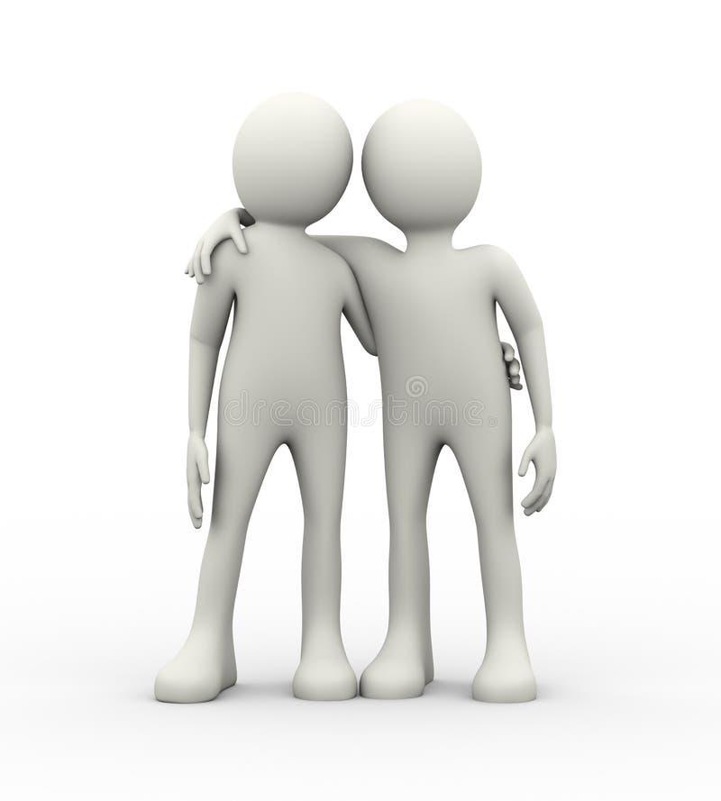 conceito 3d da parceria e da amizade ilustração stock