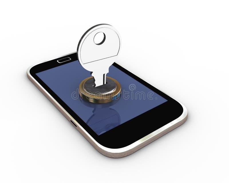 conceito 3d da proteção móvel ilustração do vetor