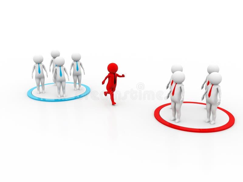 conceito 3D que descreve as equipes em mudança, grandes para o negócio ou ideias gerais ilustração stock