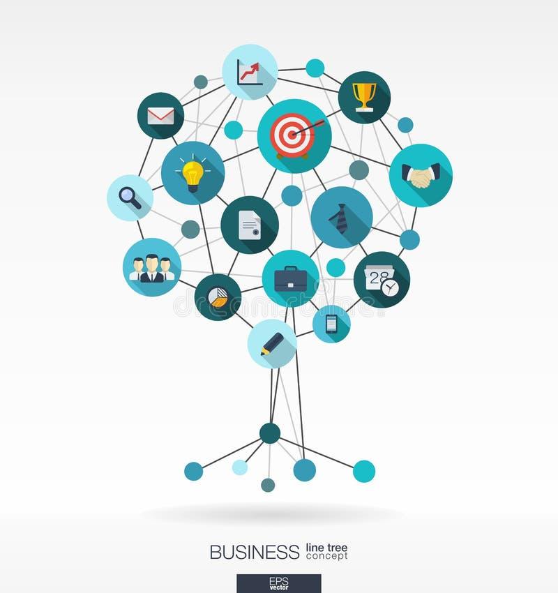 Conceito da árvore do crescimento para o negócio, uma comunicação, pesquisa de mercado ilustração royalty free