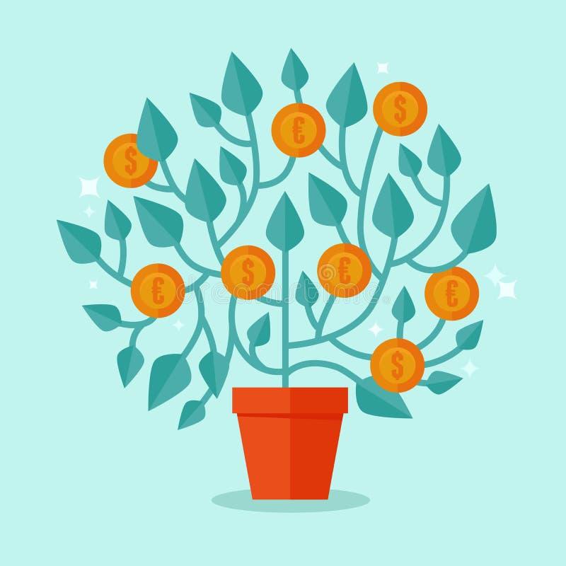 Conceito da árvore do dinheiro do vetor no estilo liso ilustração do vetor