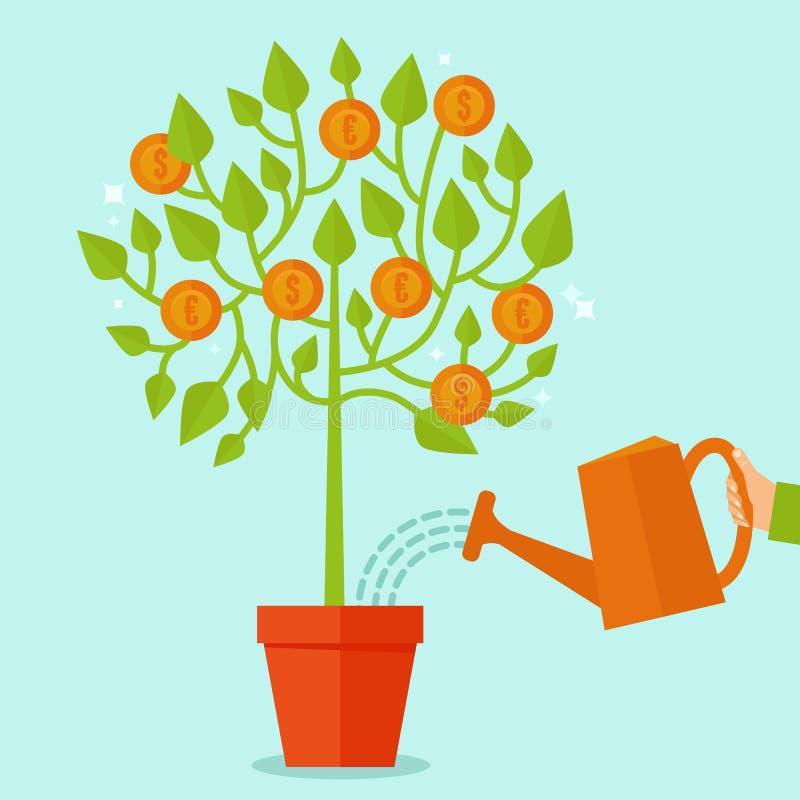 Conceito da árvore do dinheiro do vetor no estilo liso ilustração stock