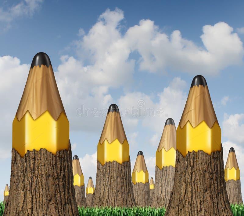Conceito da árvore do lápis ilustração do vetor