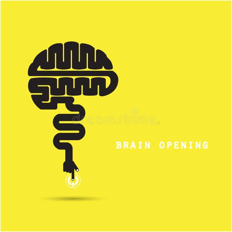 Conceito da abertura do cérebro Projeto criativo do logotipo do vetor do sumário do cérebro ilustração do vetor