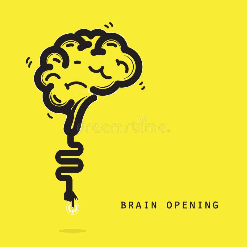 Conceito da abertura do cérebro Projeto criativo do logotipo do vetor do sumário do cérebro ilustração royalty free