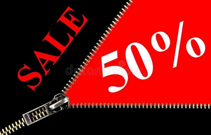Conceito da abertura do cartaz e do zipper da venda de 50% ilustração royalty free