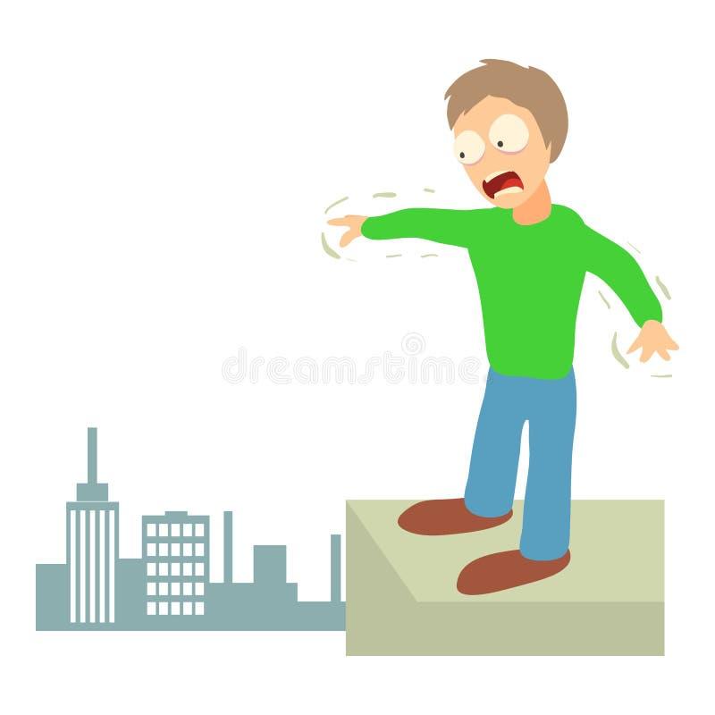 Conceito da acrofobia, ilustração dos desenhos animados ilustração royalty free