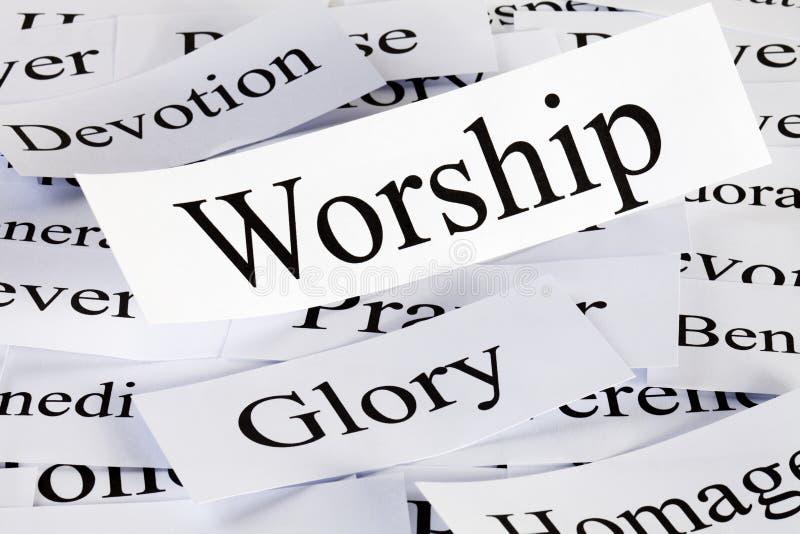 Conceito da adoração nas palavras foto de stock royalty free