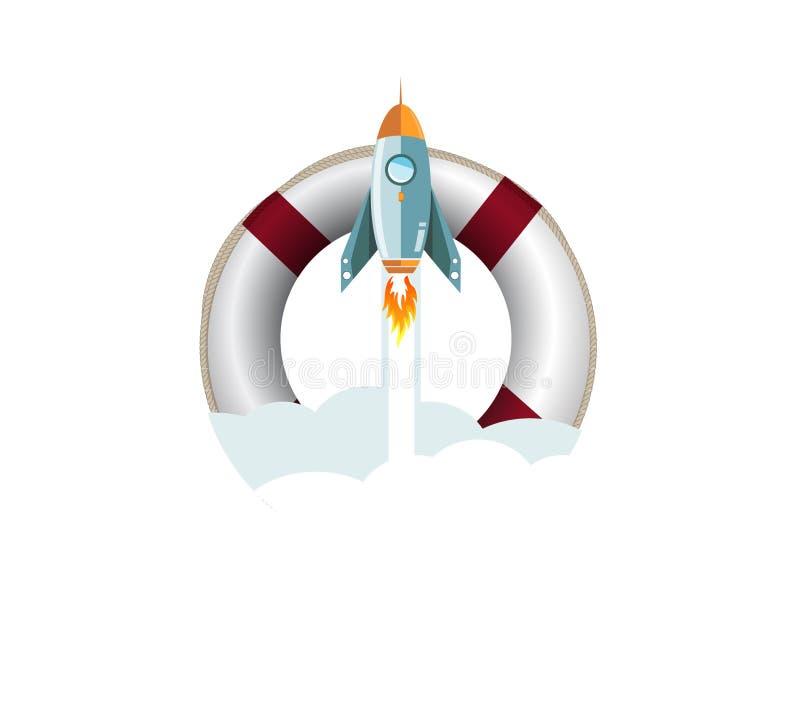 conceito da ajuda do foguete do voo do boia salva-vidas do SOS ilustração do vetor
