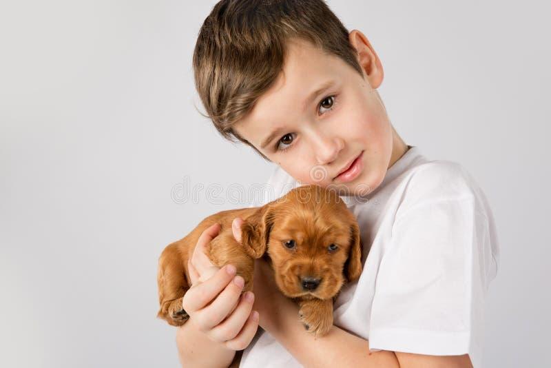 Conceito da amizade do animal de estimação da criança - Portret do rapaz pequeno com o cachorrinho vermelho no fundo branco imagens de stock royalty free