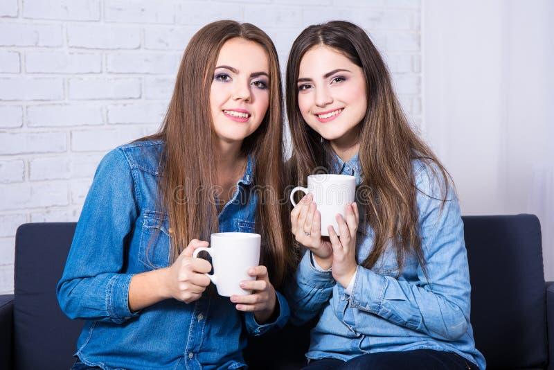 Conceito da amizade - duas mulheres bonitas que bebem o café ou o chá imagens de stock