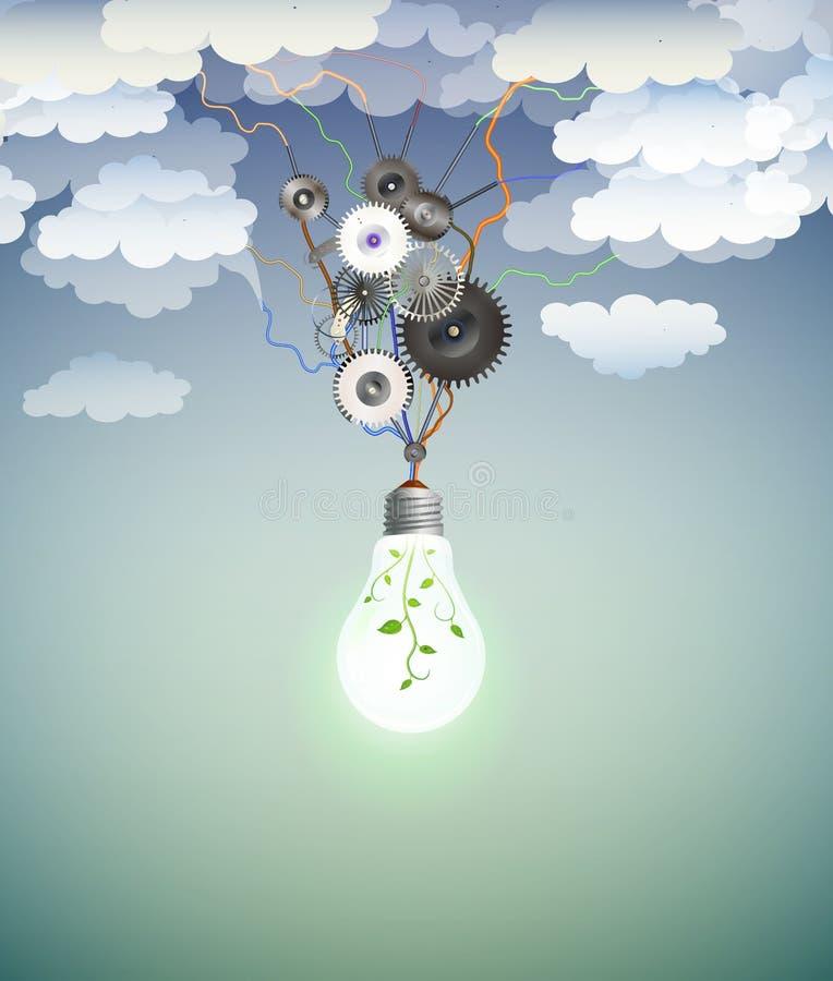 Conceito da ampola de Eco, motor da energia do eco, ampola realística com motor do mecânico e com planta para dentro no limpo ilustração stock