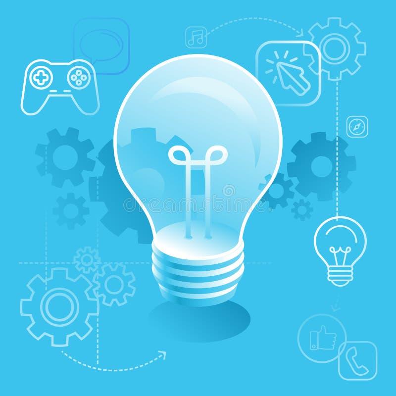 Conceito da ampola - desenvolvimento novo da ideia - processo criativo ilustração royalty free
