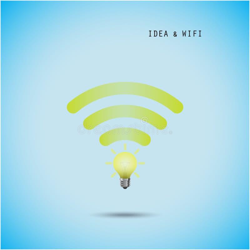Conceito da ampola e sinal criativos do wifi ilustração stock