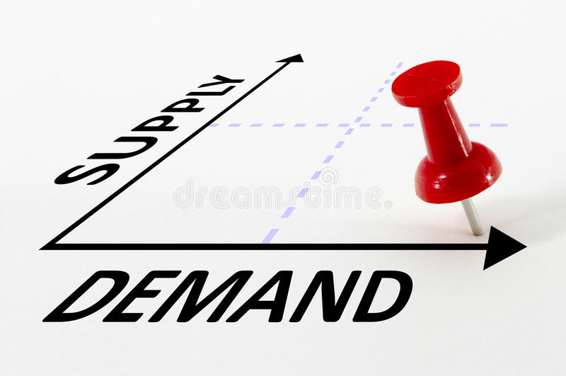 Conceito da análise da oferta e procura imagens de stock royalty free