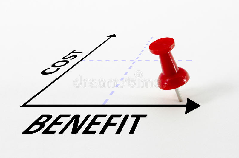 Conceito da análise de benefício de custo foto de stock