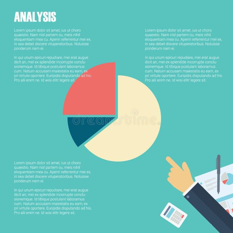 Conceito da análise de negócio com espaço do texto Financie símbolos e mão do homem de negócios para apresentações de dados ilustração royalty free