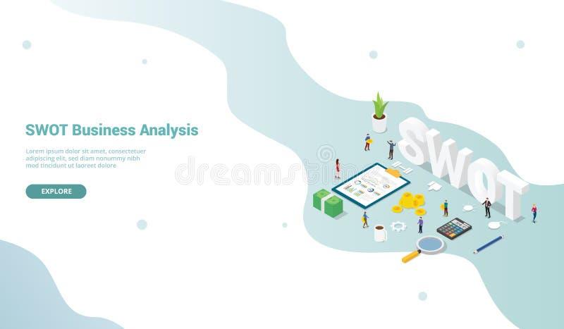 Conceito da análise de negócio do Swot com o escritório dos povos da equipe e dados para o molde do Web site ou o vetor de aterri ilustração royalty free