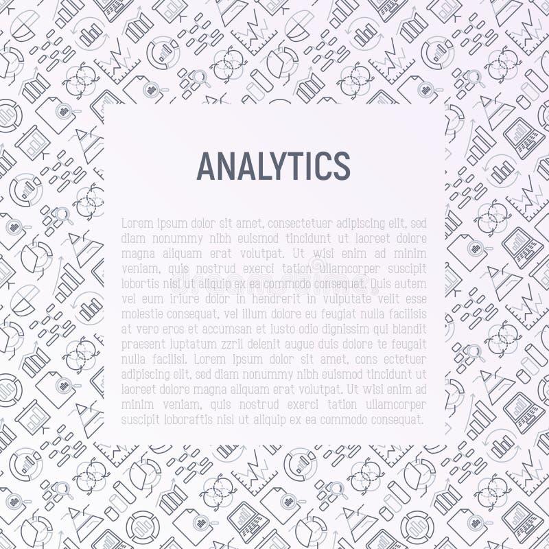 Conceito da analítica com linha fina ícones ilustração royalty free