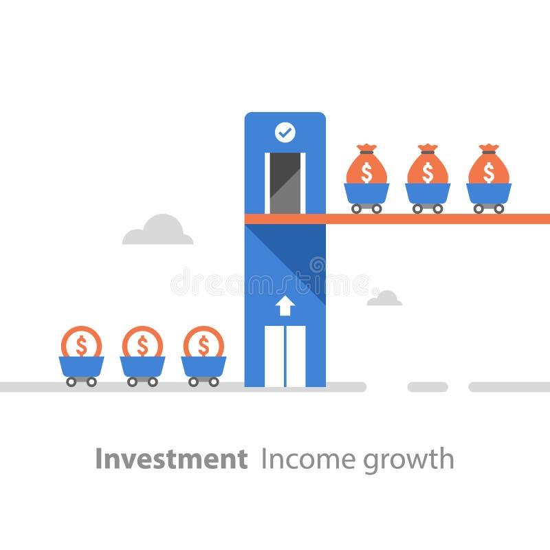 Conceito da angariação de fundos, retorno sobre o investimento, crescimento da renda, aumento do rendimento, produtividade financ ilustração stock