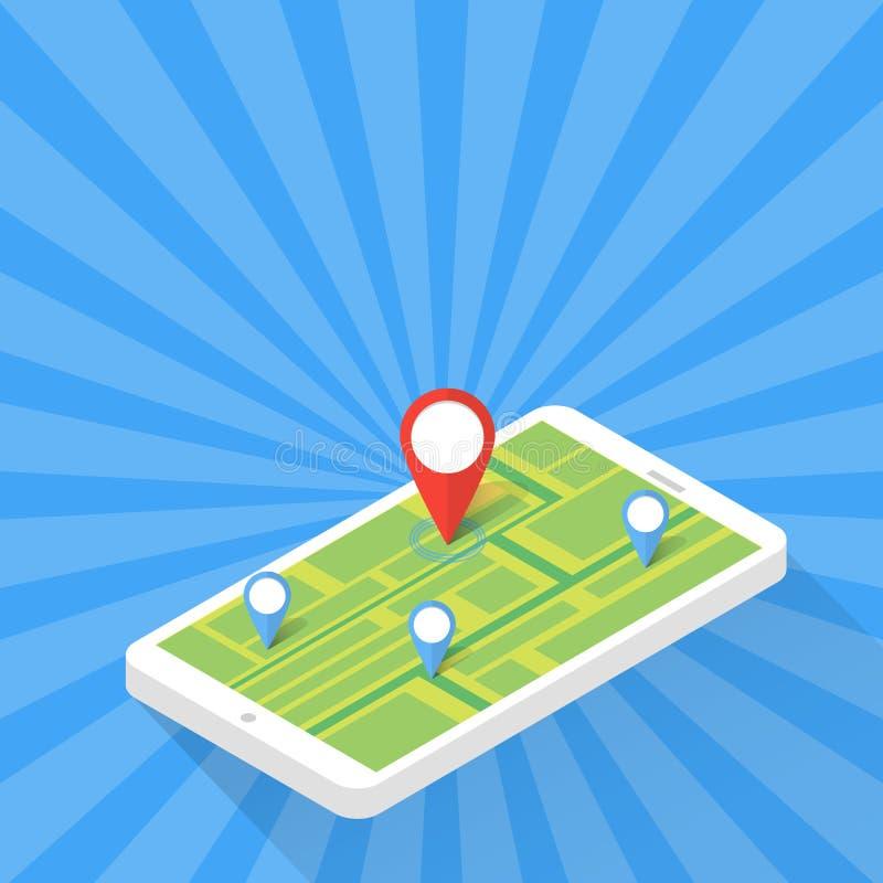 Conceito da aplicação do jogo Navegação do mapa dos Gps com tela do telefone Ilustração do vetor ilustração stock