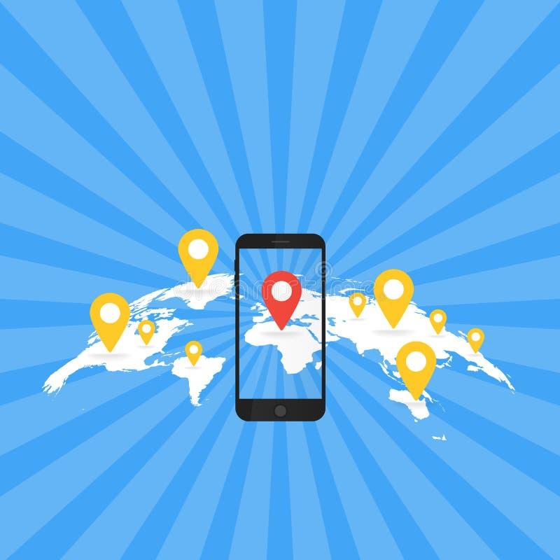 Conceito da aplicação do jogo Navegação do mapa dos Gps com tela do telefone Ilustração do vetor ilustração royalty free