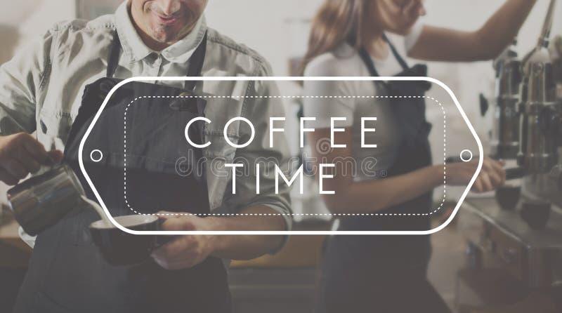 Conceito da apreciação do abrandamento da cultura do tempo da ruptura de café imagens de stock