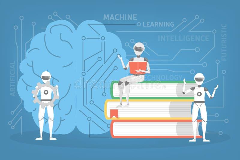 Conceito da aprendizagem de máquina Algoritmo novo da aprendizagem de inteligência artificial ilustração do vetor