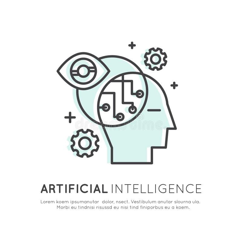 Conceito da aprendizagem de máquina, inteligência artificial, realidade virtual, tecnologia de EyeTap do futuro ilustração royalty free
