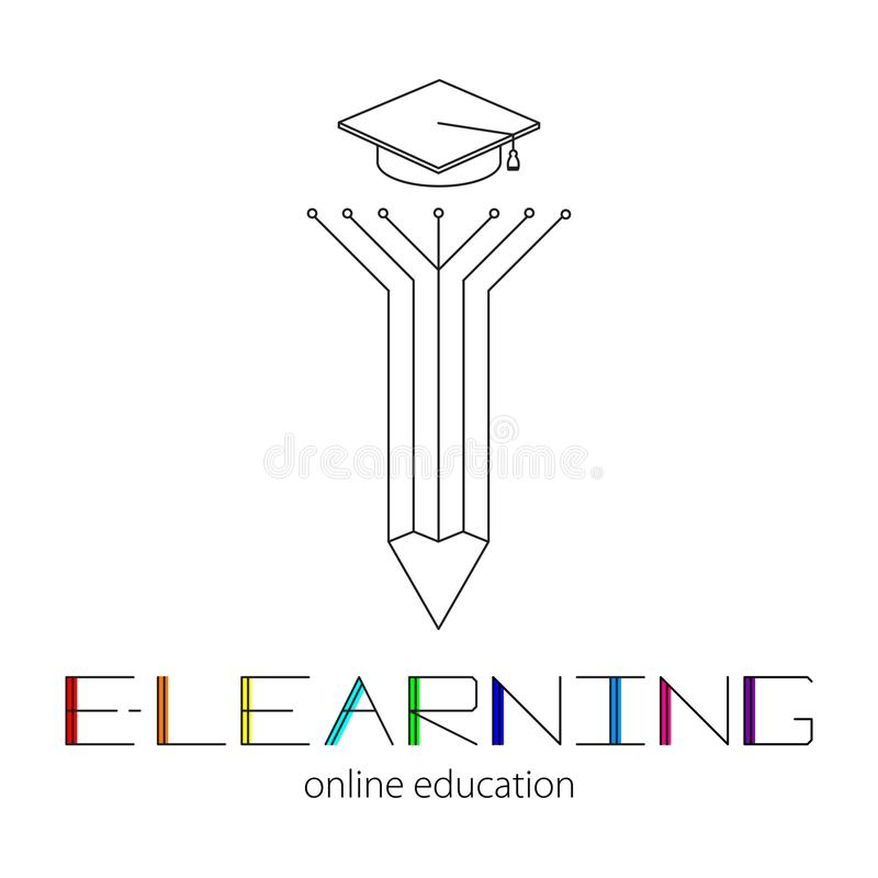 Conceito da aprendizagem remota Silhueta da pena e do tampão acadêmico Logotipo do ensino eletrónico e da rotulação colorida ilustração do vetor