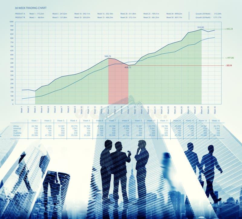 Conceito da apresentação de dados das medidas do gráfico de negócio ilustração do vetor