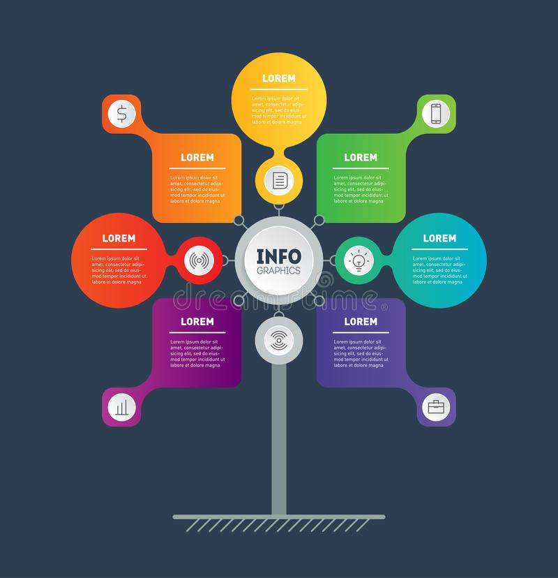 Conceito da apresentação do negócio com 7 pontos Molde da Web da carta ou do diagrama da informação Infographic do processo da te ilustração do vetor