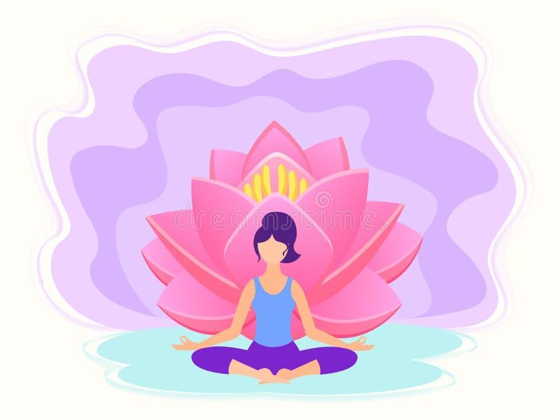 Conceito da aptidão da ioga ilustração do vetor