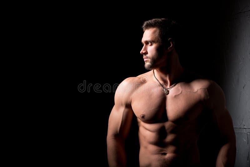 Conceito da aptidão Torso muscular e 'sexy' do homem novo que tem o pão masculino perfeito do Abs, do bíceps e da caixa com corpo fotos de stock royalty free