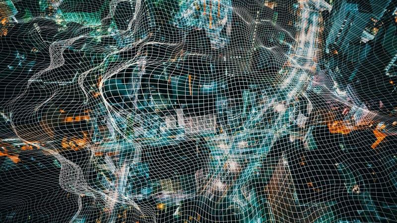 Conceito da arquitetura da cidade da tecnologia de rede ilustração stock