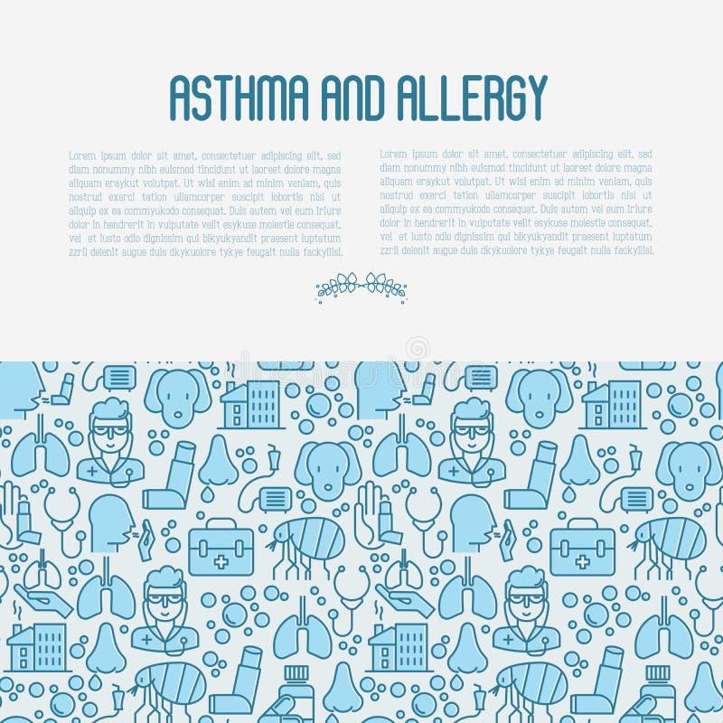 Conceito da asma e da alergia ilustração royalty free